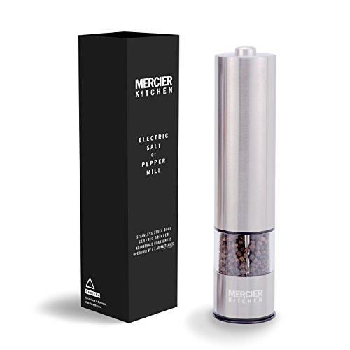 MERCIER Automatic Electric Salt or Pepper Grinder Mill, Battery Powered with LED...