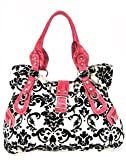 Gorgeous! Large Roomy Velvet Coated Damask Print Shoulder Bag Purse Black White w/ Pink Trim
