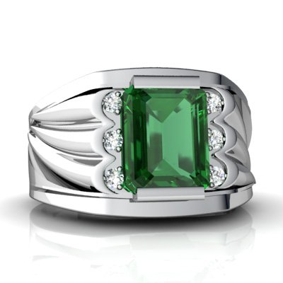 14K White Gold Men s Emerald Ring