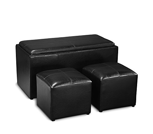 Leather Coffee Table With Tray: Storage Bench 2 Side Ottomans Black Set Faux Leather