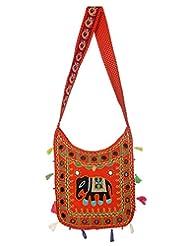 Rajrang Super Quality Cotton Embroidered Elephant Orange Sling Bag - B0101U84V0
