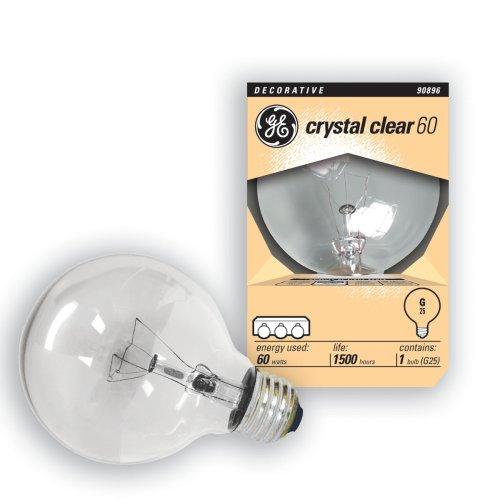 GE 14846-6 60 Watt Globe G25 Light Bulb, Crystal Clear, 6-Pa