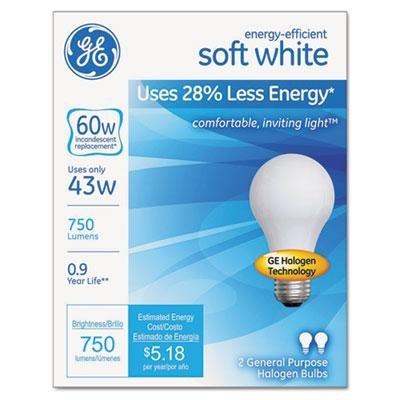 GE Halogen A-Line Bulb, A19, 750 Lm, Case of 2 Packs