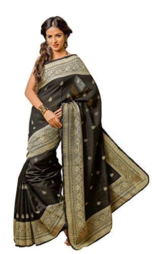 Prafful Black Silk Saree With Unstitched Blouse Piece