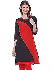ILLAHI Women's Black And Red Cotton Kurti