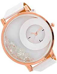 Bollywood Designer Stylish Free Diamond Dial Fancy Leather Watch For Girls And Women (White)