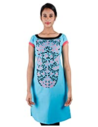 Sky Blue Casual Cotton Kurta With Leaf Prints From ESTYLe