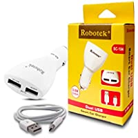 Robotek - SC104 -Dual USB (2 Amp And 1 Amp) Smart Car Charger With 1 Mtr Micro USB Charging Data Cable For Nokia...