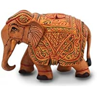 Neha Handicraft Wooden Hand Carved Painted Elephant Handicraft Elephant Gift