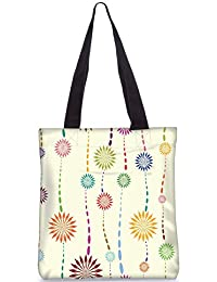Snoogg Vector Floral Pattern Fashion Printed Shopping Shoulder Lunch Tote Bag For Women - B071LJQ3CN