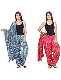 Rama Set Of 2 Floral Print Sky Blue & Pink Colour Cotton Full Patiala With Dupatta Set