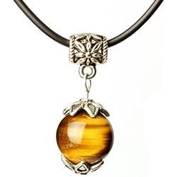 Tirio Wishing Bead Necklace Series Golden Tiger Eye with Tibetan Silver Pendant Grounding Stone Protection