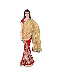 Janasya Women's Red Embroidered Georgette Saree With Jacquard Pallu