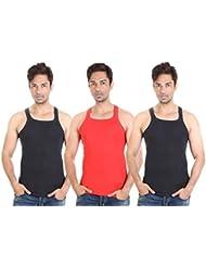 Bodysense Black & Red Men's Gym Vest ( Pack Of 3 )