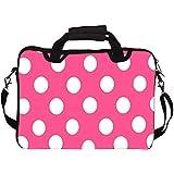 "Snoogg Pink Polka Dot 13"" 13.5"" 13.6"" Inch Laptop Notebook SlipCase With Shoulder Strap Handle Sleeve Soft Case..."