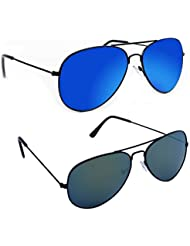 Aviator Sunglasses Blue Mirror With Black Frame And Wayfarer Brown Mirror With Brown Frame Combo
