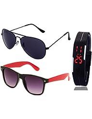 FULL BLACK AVIATOR SUNGLASSES AND BLACK RED WAYFARER AVIATOR SUNGLASSES WITH TPU BAND RED LED DIGITAL BLACK DIAL...