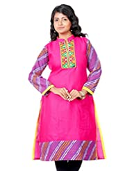 B3Fashion Designer Cotton Pink Supernet Kurti With Full Leheria Sleeves And Border With Gujrati Embroidery & Mirror...
