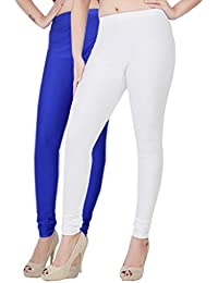 Fashion And Freedom Women's Pack Of 2 White And Blue Satin Leggings