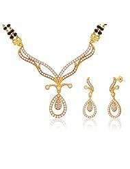 "Peora 18 Karat Gold Plated Cubic Zirconia ""Anuprabha"" Mangalsutra Earrings Set (PM60GJ)"