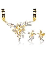 "Peora 18 Karat Gold Plated Cubic Zirconia ""Kimaya"" Mangalsutra Earrings Set (PM28GJ)"