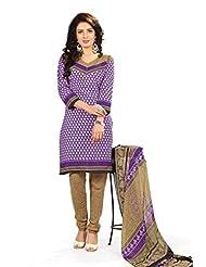 BanoRani Womens Purple & Beige Color PolyCotton Unstitched Dress Material