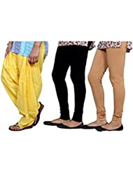 Indistar Women's Full Patiala Salwar With Premium Cotton Casual Legging (2 Pieces)- (Combo Pack Of 3) - B01IVJEBHO