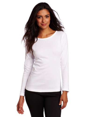 Duofold Women's Mid Weight Wicking Thermal Shirt, White, Small