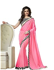 Latest Designer Pink Gorgeous Saree With Exclusive Sequence Blouse