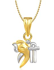 Amaal Ganesha Ganpati God Pendant With Chain For Men,Women Gold Plated In American Diamond Cz Jewellery GP0242