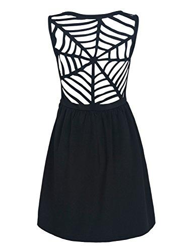 Women's Black V-neck Caged Back Sleeveless A-line Dress