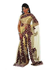 Designersareez Women Net Embroidered Beige Saree With Unstitched Blouse(901)