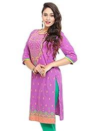 Mytri Cambric Straight Purple Women Long Kurta