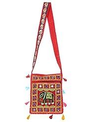 Rajrang Womens Elephant Printed Cotton Embroidered Work Maroon Sling Bag