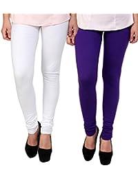 BrandTrendz White And Purple Cotton Pack Of 2 Leggings