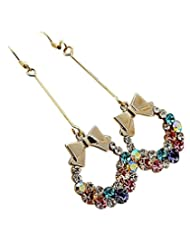 Cinderella Collection By Shining Diva Multicolor Rhinestone Hoop Earrings For Women