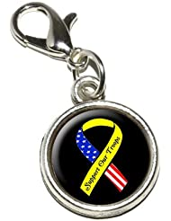 Graphics And More Support Our Troops Ribbon Yellow And Flag On Black Antiqued Bracelet Pendant Zipper Pull Charm...
