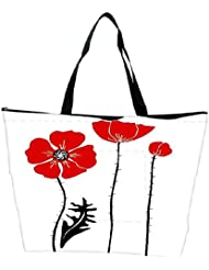 Snoogg Stylish Red And Black Poppies On White Background Waterproof Bag Made Of High Strength Nylon