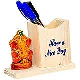 Kuber Industries™ Wooden Handicraft Ganesh JI Pen Stand & Décor Item, Gift Item - KI19266