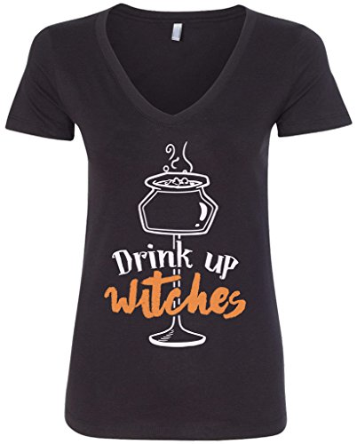 Threadrock Women's Drink Up Witches V-neck T-shirt