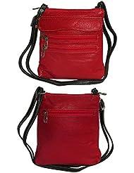 NAZ Women Red Leather Sling Bag