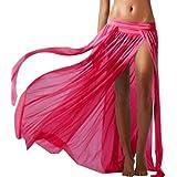 Imported Sexy Bikini Swimsuit Sheer Beach Maxi Skirt Veil Dress Swimwear Rose Red