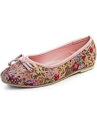 Beanz Rosie Beige Floral/Pink Cotton Ptinted Cloth Ballerina For Girls Size 26 EU