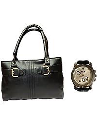 Arc HnH Women HandBag + Watch Combo - Buckle Black Handbag + Premium Silver Heart Watch