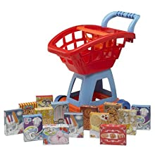 American Plastic Toy Deluxe Shopping Cart With Play Food (15 Piece)