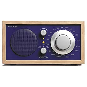Tivoli Audio M1BLU Henry Kloss Model One AM/FM Table Radio, Cherry/Cobalt Blue