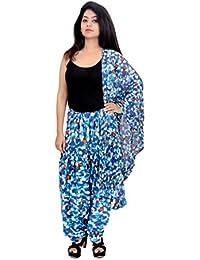 Fashion Store Women Printed Solid Cotton Full Multi-Coloured Patiala Salwar Dupatta Set(Free Size,Blue) - B074TDT8YD