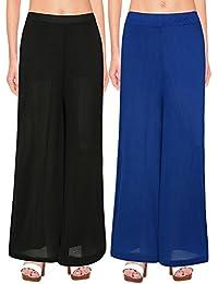 NGT Women's Stylish Black And Royal Blue Premium Lycra Fit Plazzo