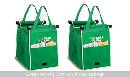 CONNECTWIDE® Grab Bag,Carry-on Shopping Grab Bags(set Of 2),Non-woven Fordable Bag. Qty.1Pcs Color-Green Size:...