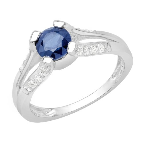 1.24 Carat Blue Color White 14K Gold Certified Sapphire and Diamond Engagement Ring